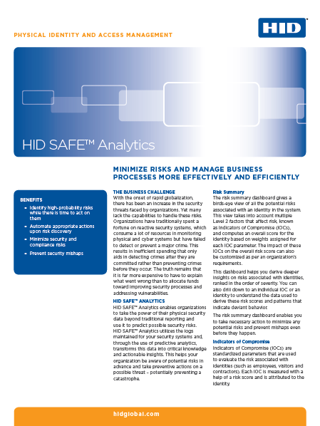 HID SAFE Analytics