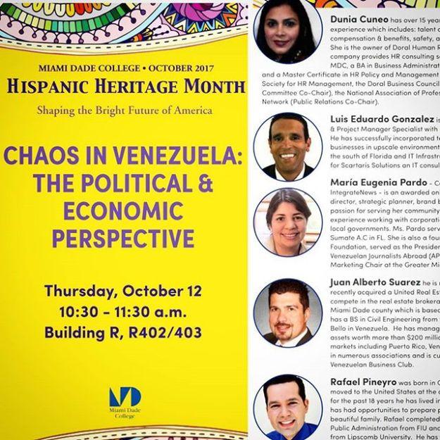 #Miami Our editor @marupardomiami will be participating as a panelist at this forum that will take place tomorrow Oct 12 (10:30 am - 11:30 am) at @mdcollege #kendallcampus. Address:11011 SW 104th St, Miami, FL 33176Building R, R402/R403#HispanicHeritage #hispanicheritagemonth #VenezolanosEnMiami #VenezolanosEnDoral #venezuela