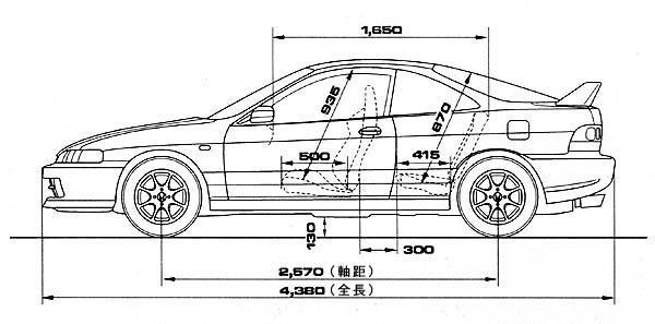 Acura/Honda Integra Type R Dimension (Size) Comparison
