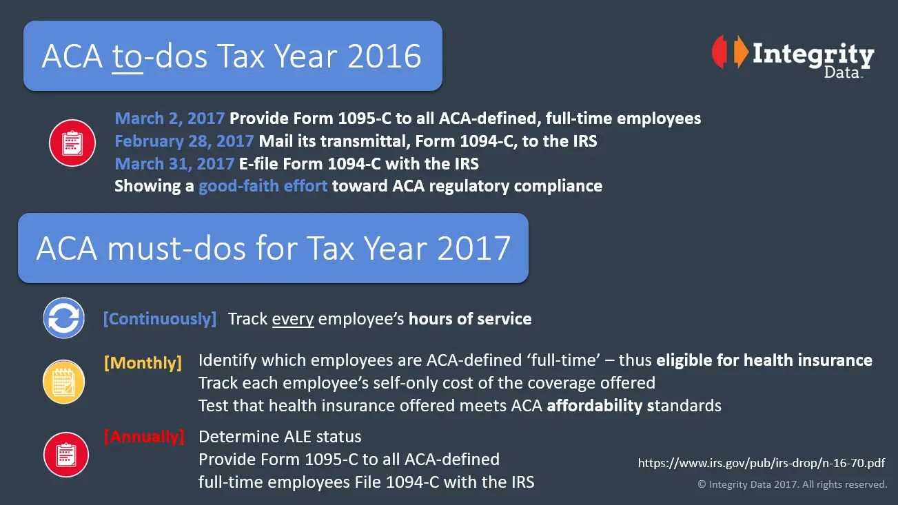Aca To-Dos For Tax Year 2016 And Must-Dos For Tax Year 2017