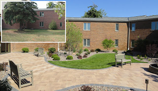 before and after of a low-maintenance landscape renovation