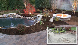patio before and after - now with water feature