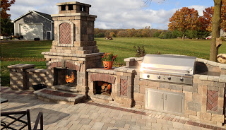 outdoor fireplace and built-in grill