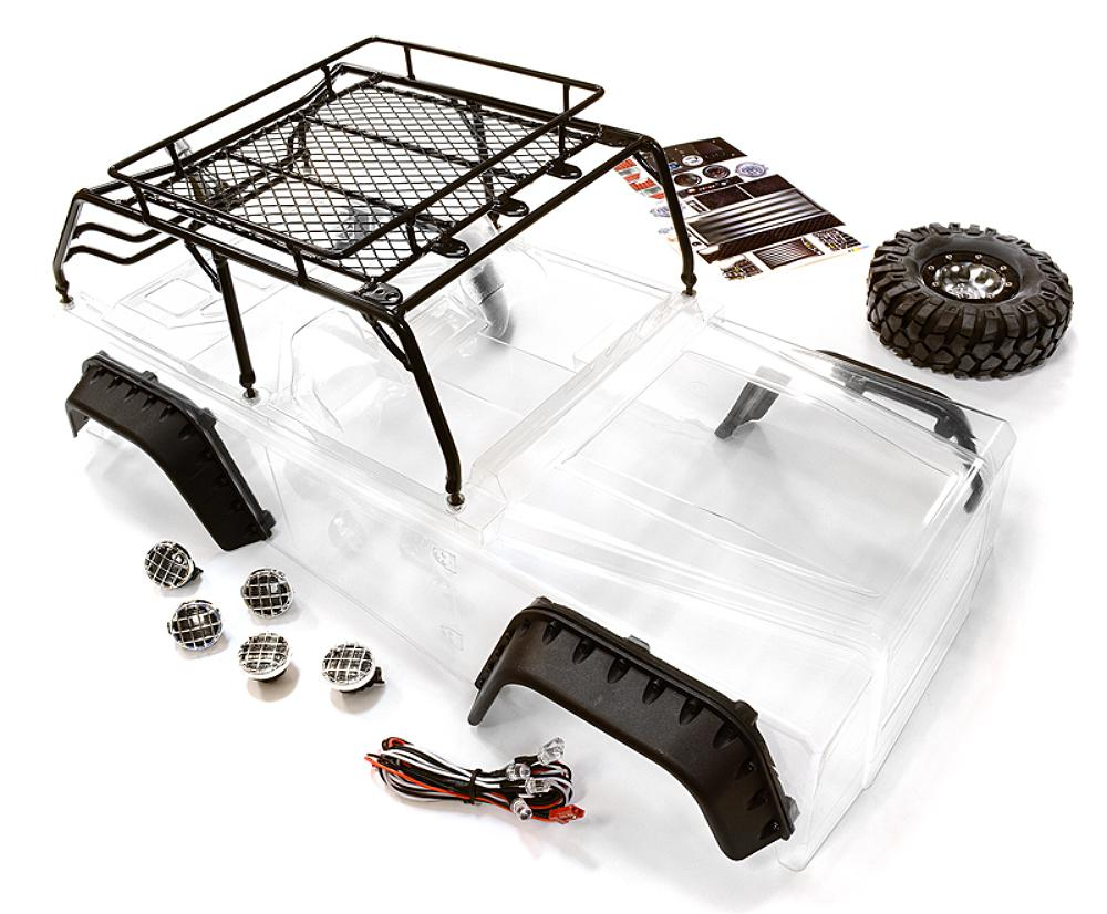 medium resolution of realistic jpx scale body w steel roll cage led light for 1 10