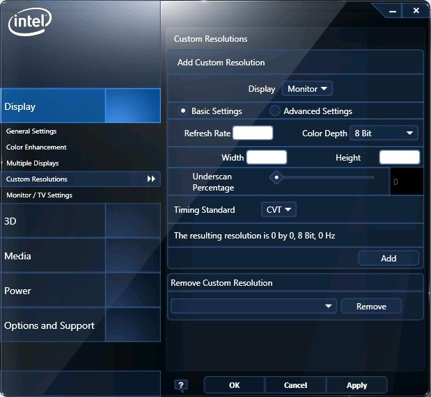 Intel® 繪圖驅動程式的自訂解析度及模式