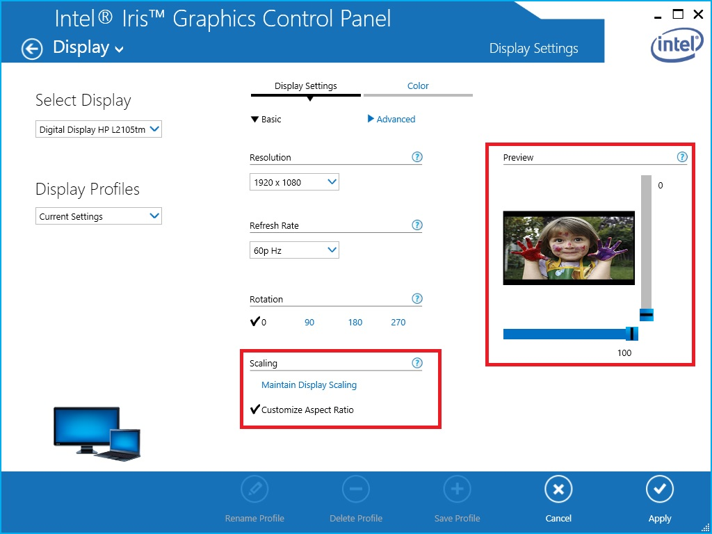hight resolution of scaling options in the intel hd graphics control panel