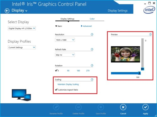 small resolution of scaling options in the intel hd graphics control panel