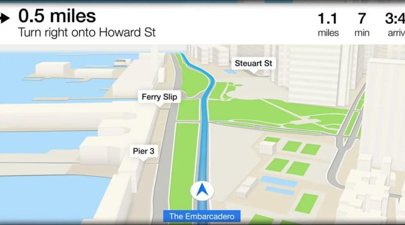 tela do que parece ser o mapas da Apple no carro