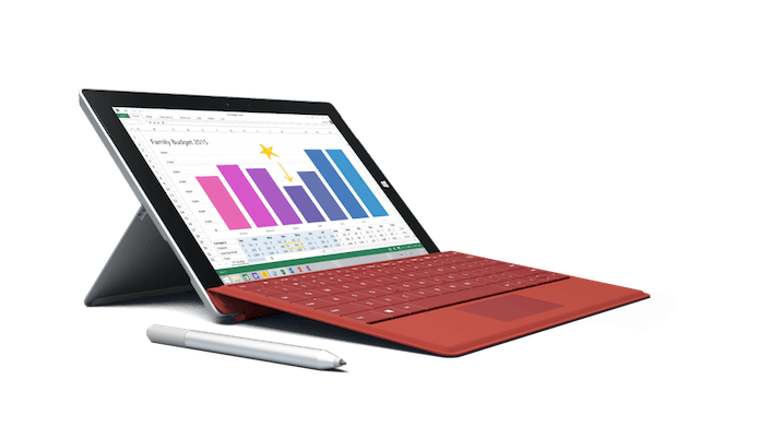 Surface 3 com a capa, caneta e a dock