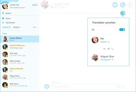 Skype Translator em mensagem