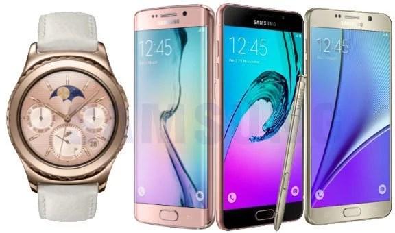 Idéias de presente da Samsung para comemorar o Dia das Mulheres que vão de um relógio Gear 2 Rose, um Galaxy S6 rose, um J5 rose e um note 5 dourado