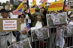 Hundreds of protesters demonstrate outside the St. Regis Resort where Vietnam President Nguyen Minh Triet is staying in Dana Point, Calif., Saturday, June 23, 2007. Triet, who is leading a delegation of Vietnamese businessmen,...