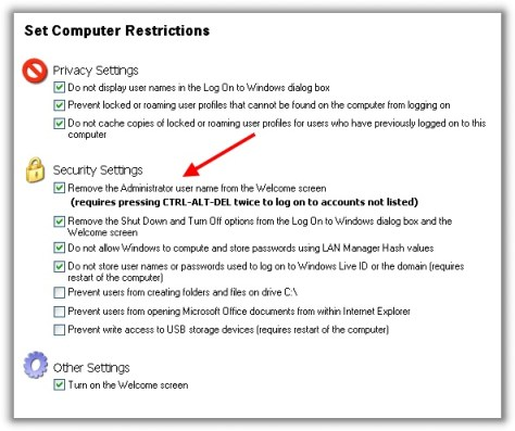 Create a secure Vista/XP Kiosk for free Hide 20Administrator 20From 20Welcome 20Screen