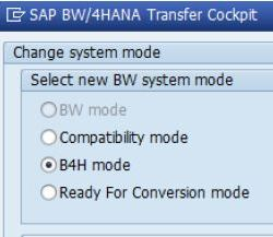 SAP BW/4HANA Operating Modes