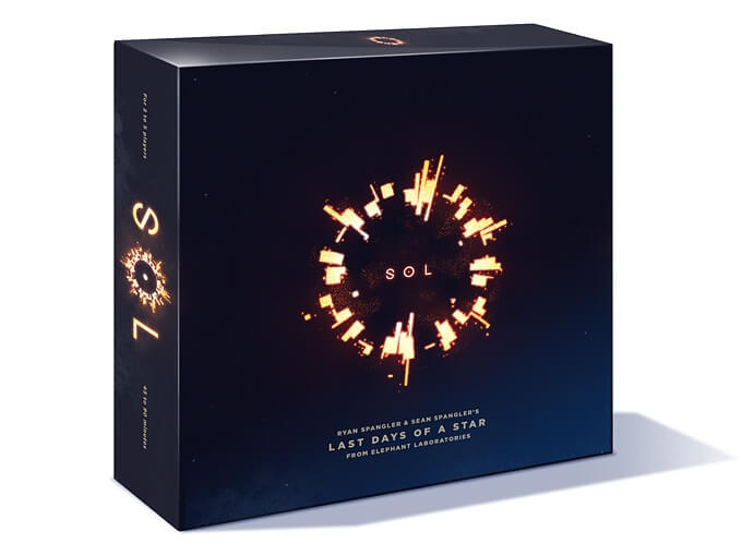 The box for Sol: Last Days of a Star. It's a black box with a small circle in the center which looks like a ring of fire.