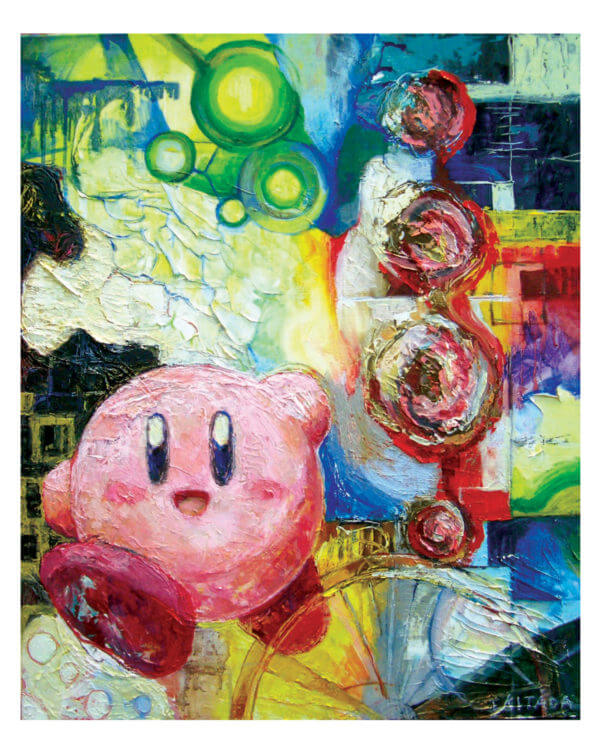 An colorful oil painted image featuring Kirby, a happy, pink, puffball-looking hero.