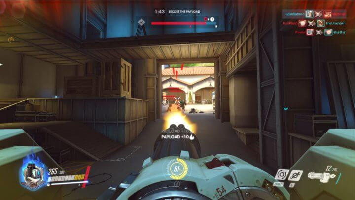 First-person view of a Bastion player in Overwatch attacking targets.