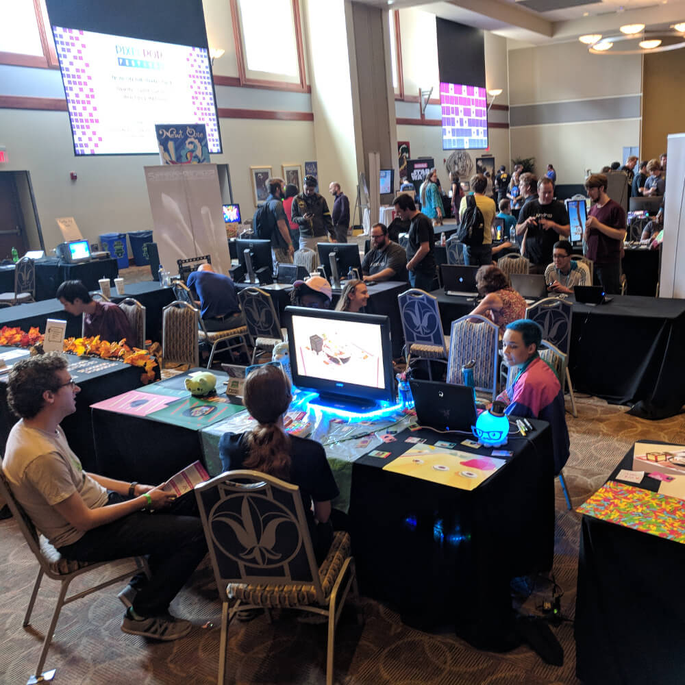 Attendees on the show floor at PixelPop Festival 2018.