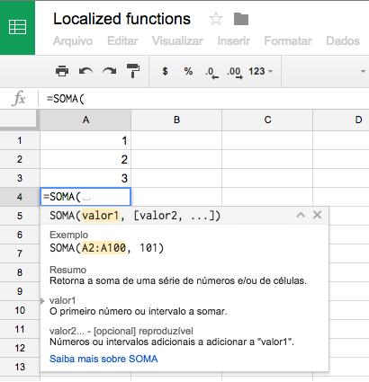 Idiomas de hojas de cálculo