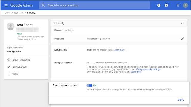 Google password reset