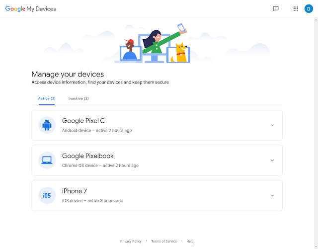 página Meus dispositivos