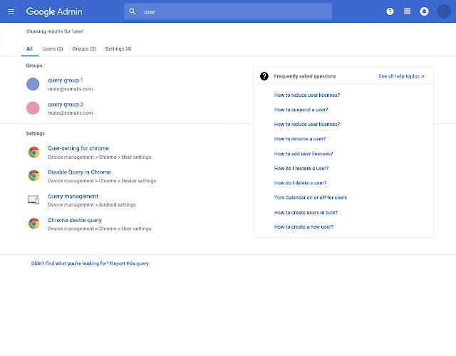 resultados de búsqueda consola administrador