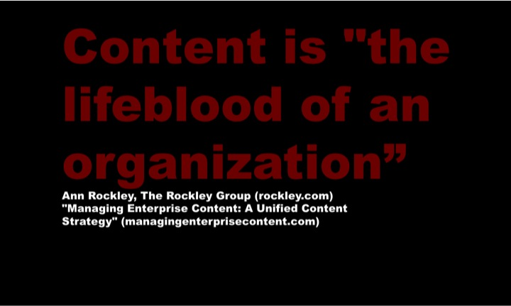 Content is teh life blood Quote Anne Rockley IntelligentHQ