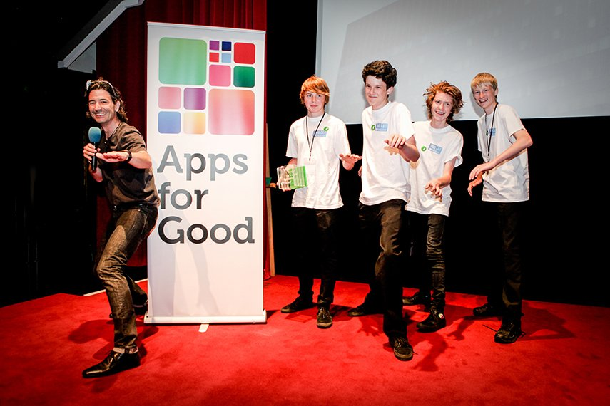 CryptoConnex celebrate their win at the Apps for Good Awards 2014