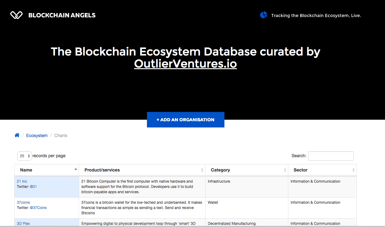 the launch of a Blockchain Startup Tracker