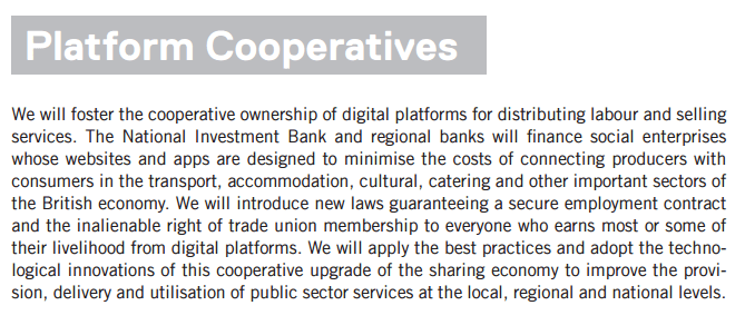 The text about Platform Co-ops in Corbyn's Digital Democracy Manifesto