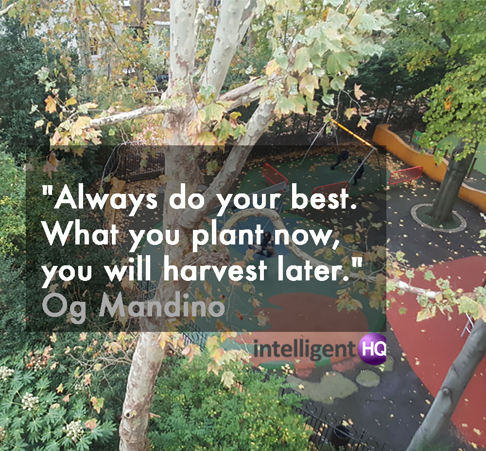 """Always do your best. What you plant now, you will harvest later."" Og Mandino Intelligenthq"