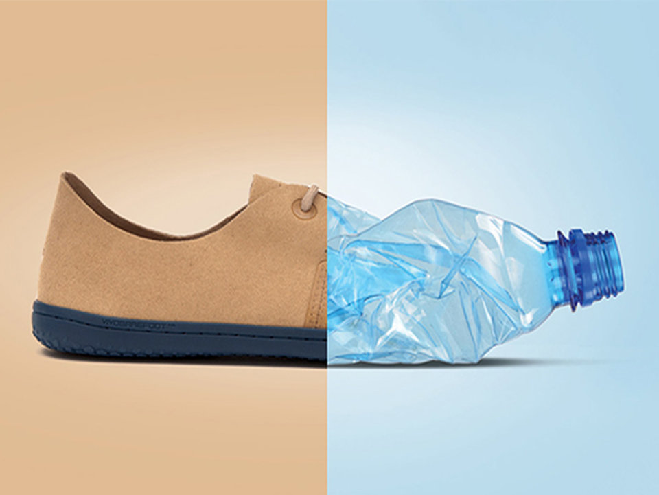 Vivobarefoot shoes made from recycled plastic bottles
