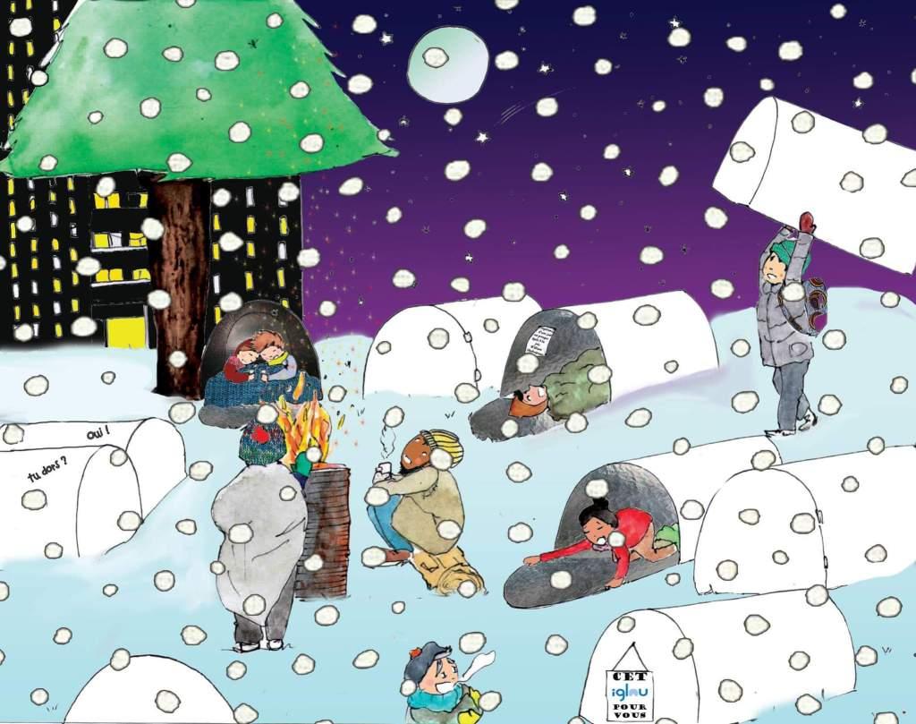 Um desenho dos abrigos Iglou em uso no inverno