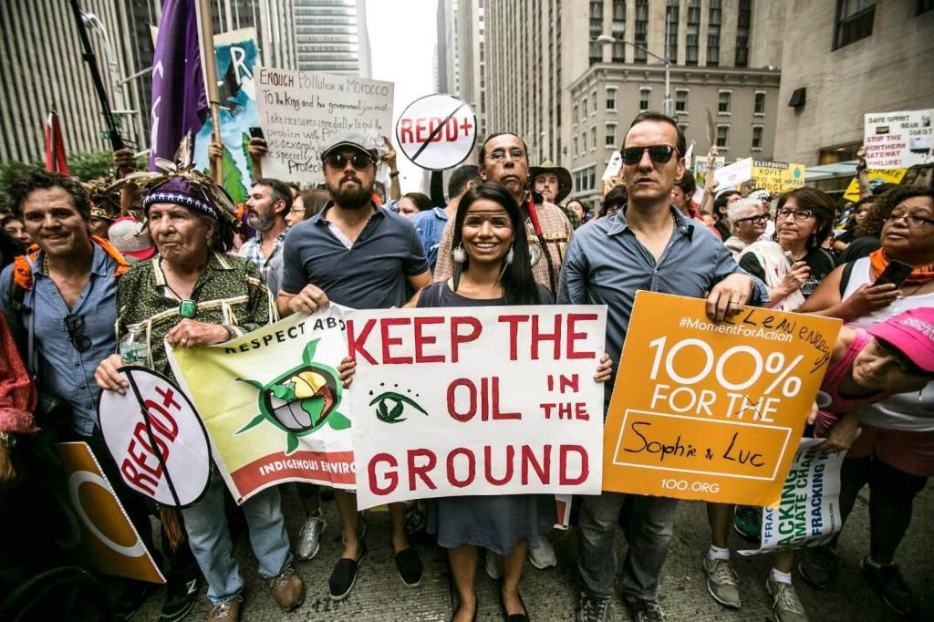 Protest to protect the amazon rainforest from oil companies and protest indigenous rightsand defend the