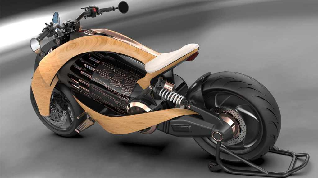 Newron electric wooden motorcycle design