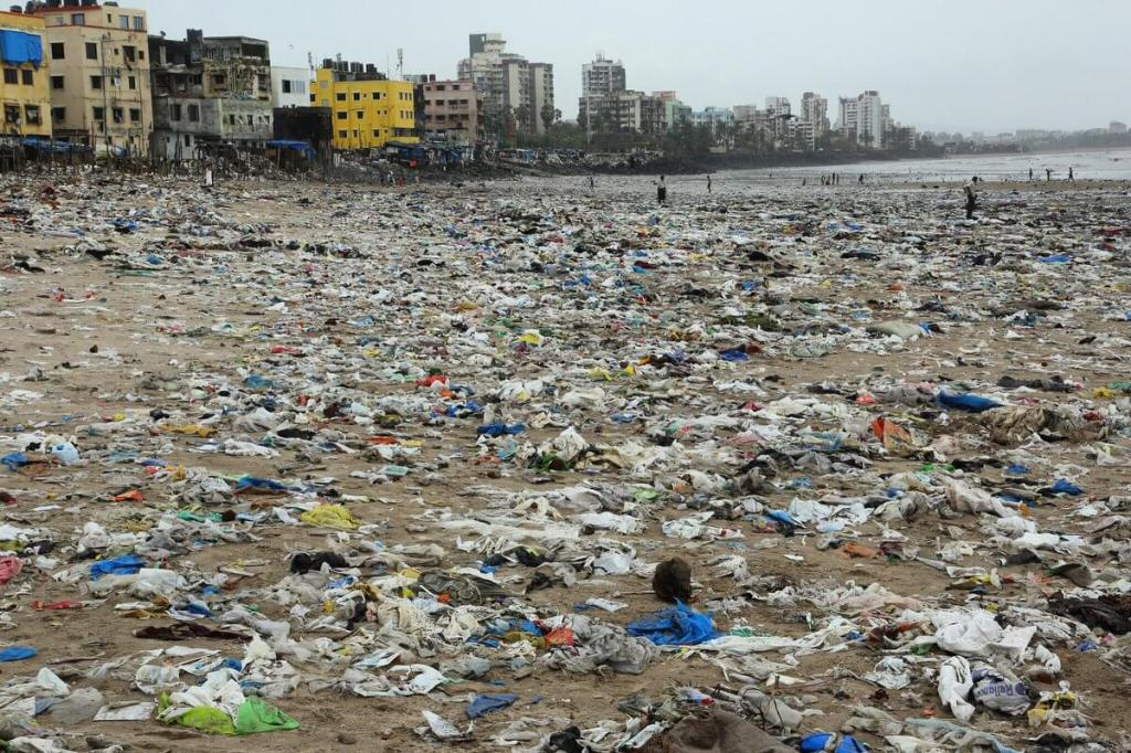Beach covered in garbage