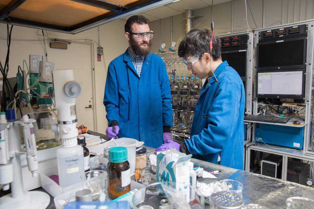 IBM researchers work in the IBM Research Battery Lab to combine and test unique materials and formulations for more sustainable battery technologies.