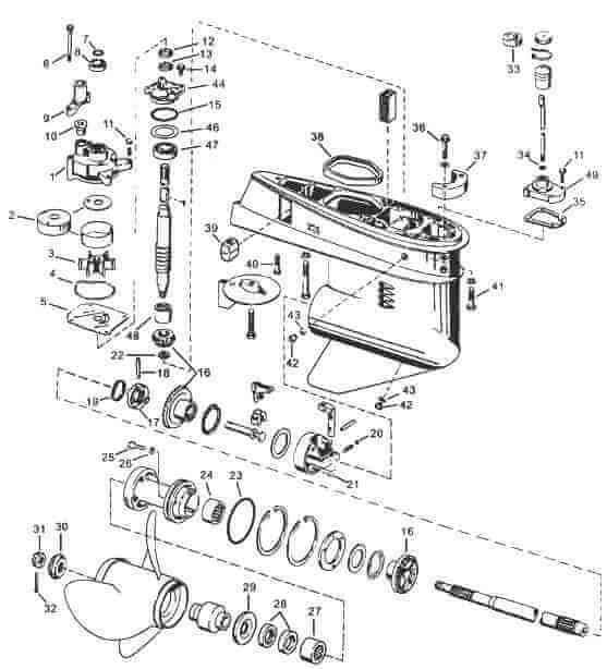 1991 mercury 60 hp lower unit diagram