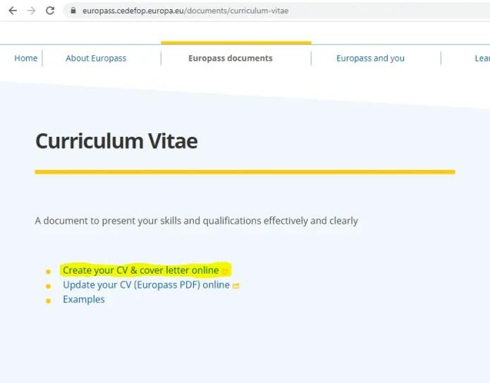 Europass CV Homepage