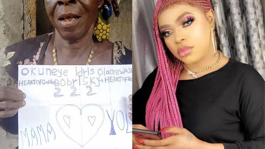 Bobrisky promises to get a new apartment for an elderly woman who declared love for him