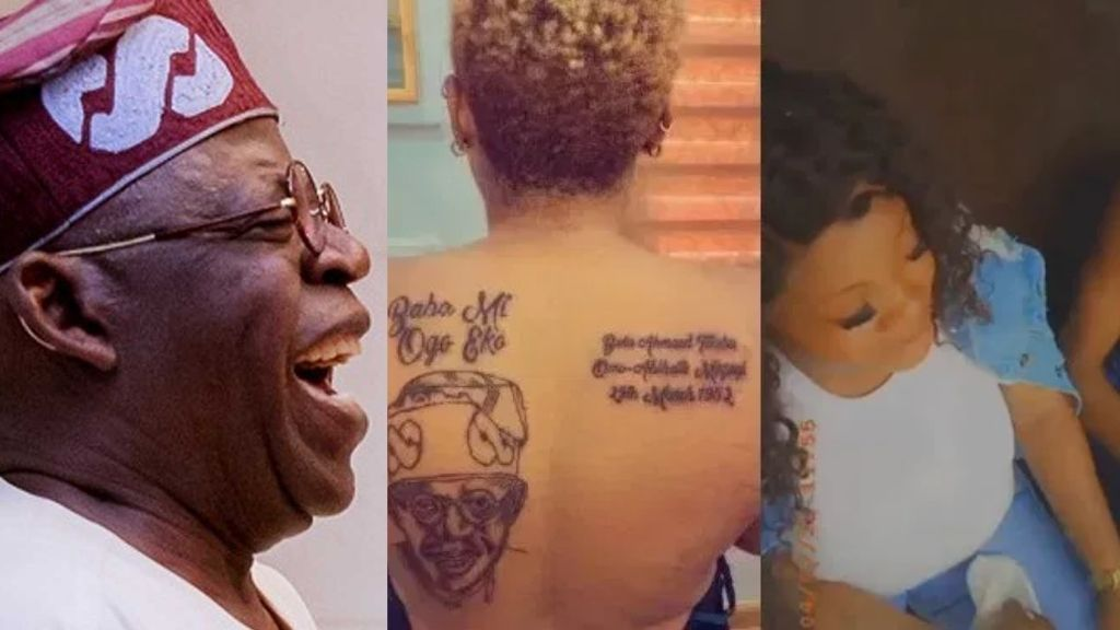 Husband of woman who tattooed Tinubu's face on her back allegedly sent her packing (Video)