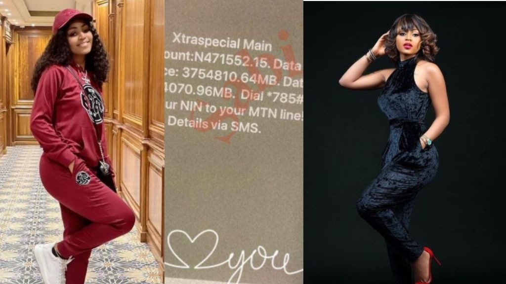 Billionaire wife, Regina Daniels flaunts N471K airtime & 3 terabytes of data on her phone