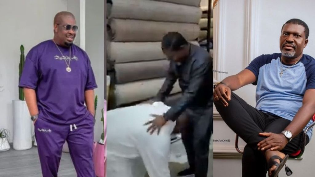 The moment Don Jazzy prostrates to greet Kanayo O. Kanayo as he meets him for the first time (Video)