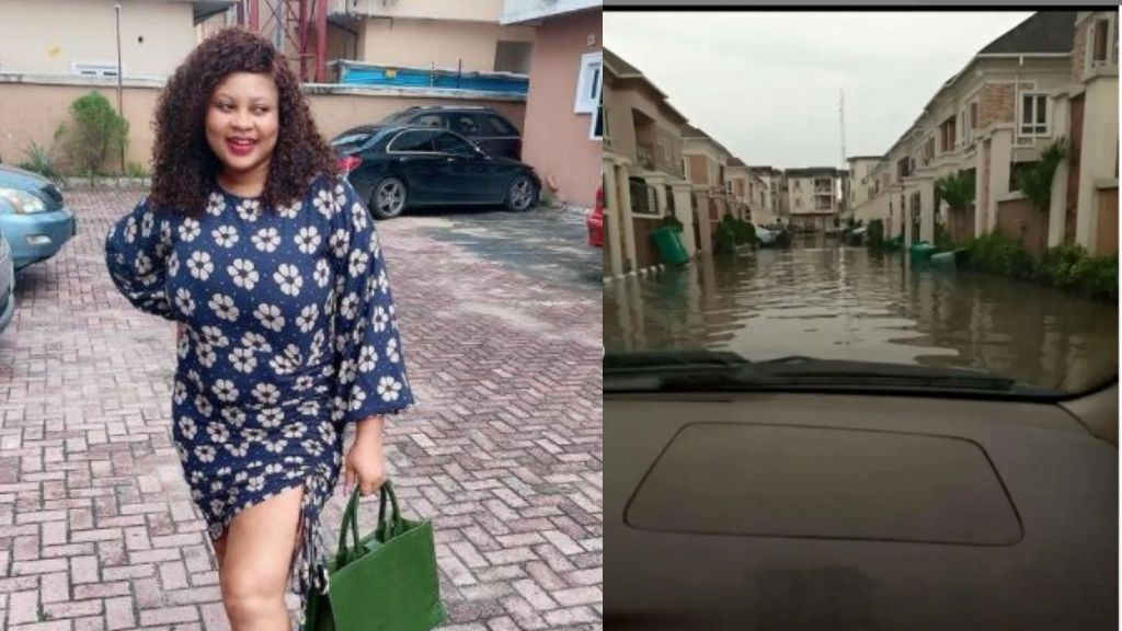 Joke Jigan cries out over the condition of her estate in Lagos after a heavy downpour