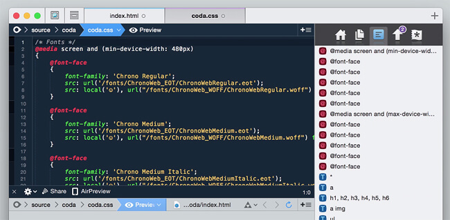coda - 10 best code editors for programming in 2017