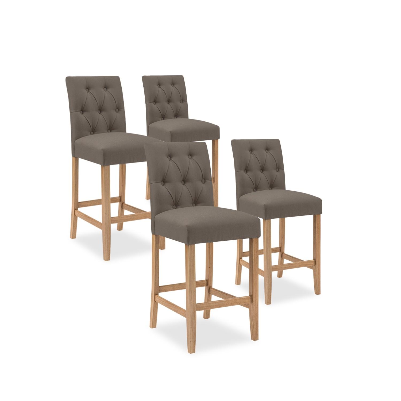 lot de 4 chaises de bar en bois gaya tissu taupe h65cm