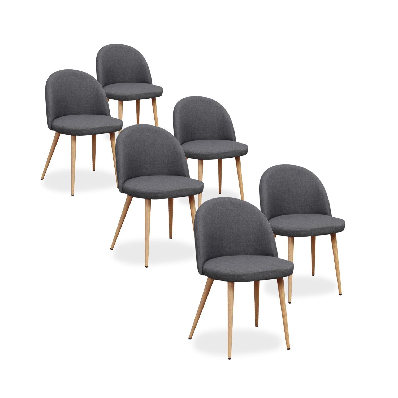 lot de 6 chaises scandinaves cecilia tissu gris fonce