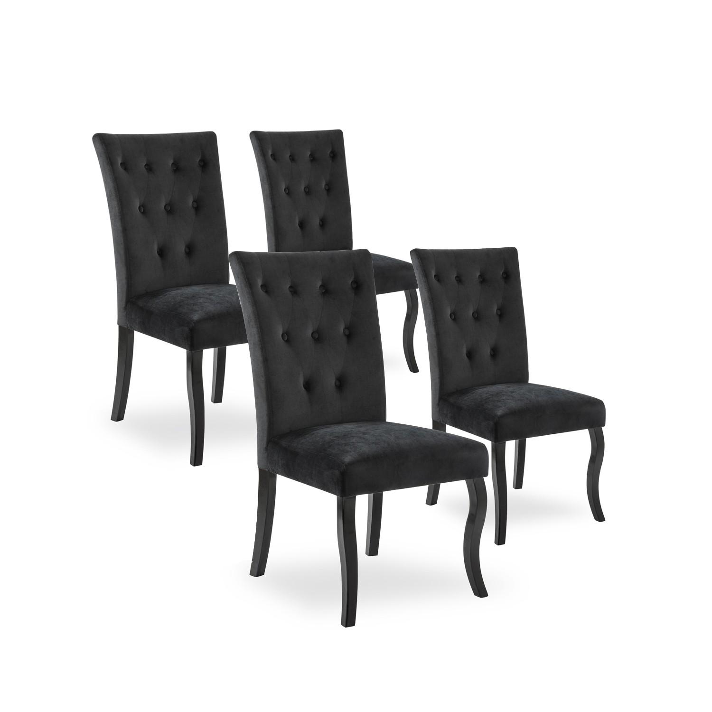 lot de 4 chaises capitonnees chaza velours noir