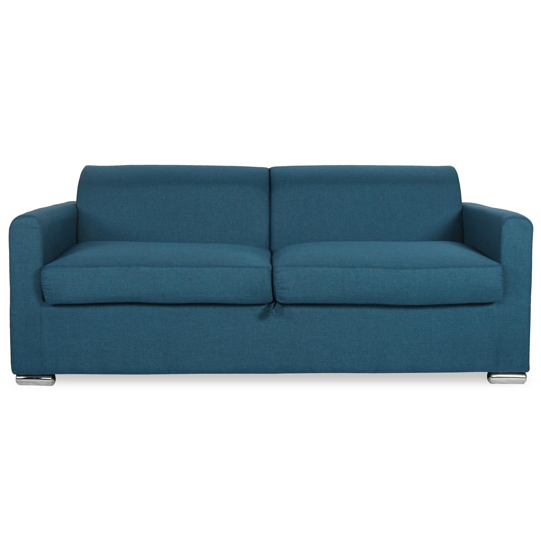 canape convertible ouverture express avec matelas luc tissu bleu canard