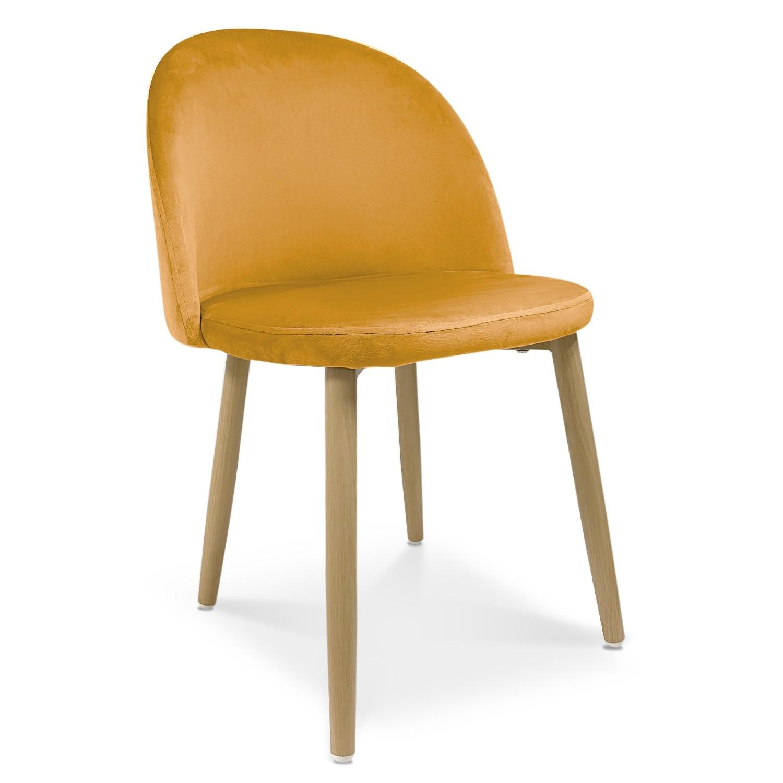 lot de 2 chaises style scandinave agathe velours jaune
